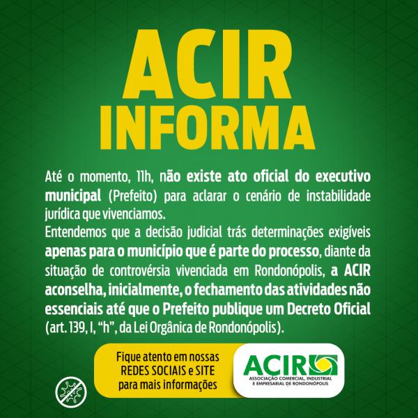 Nota de esclarecimento do lockdown em Rondonópolis