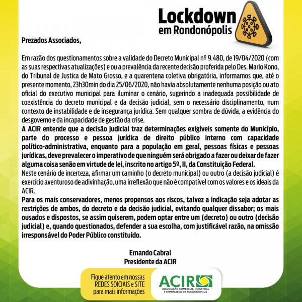 Lockdown em Rondonópolis
