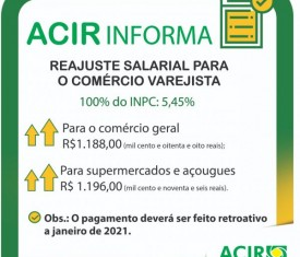 SINDICATOS DA CATEGORIA DO COMÉRCIO VAREJISTA DE RONDONÓPOLIS, FIRMARAM O REAJUSTE SALARIAL DO ANO DE 2021